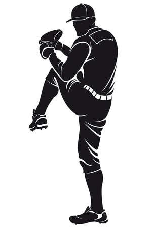 ballplayer, silhouette Ilustrace