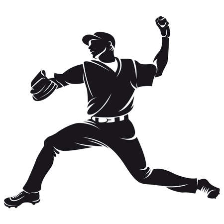 ballplayer, silhouette 일러스트