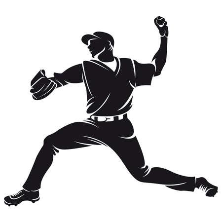 honkballer, silhouet Stock Illustratie