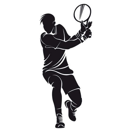 tennis player: tennis player, silhouette