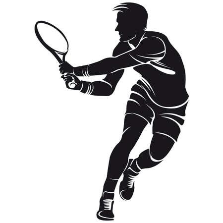 ping pong: jugador de tenis, silueta
