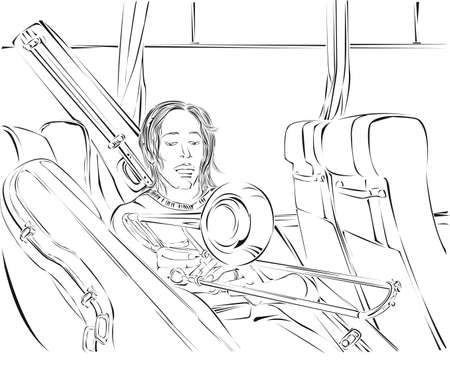 Trombone player in the bus