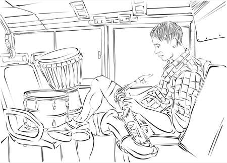 saxophone player in the bus