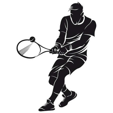 jugando tenis: El jugador de tenis, silueta, aislado en blanco Vectores
