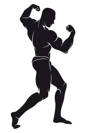 Vector afbeelding met een bodybuilder, silhouette Stock Illustratie