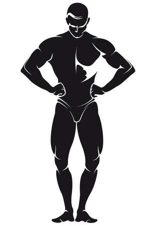 vector afbeelding met een bodybuilder, silhouette