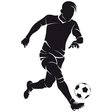 jugador de futbol soccer: Vector de f�tbol de f�tbol silueta jugador con bal�n aislado Vectores