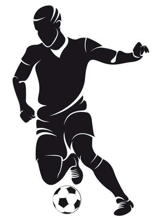 Vector football  soccer  player silhouette with ball isolated Ilustração