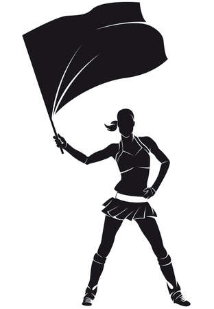 Girl from support group, cheerleader with flag, silhouette