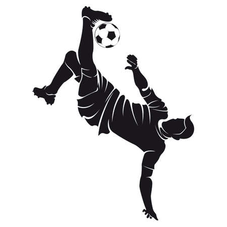 Vector football  soccer  player silhouette with ball