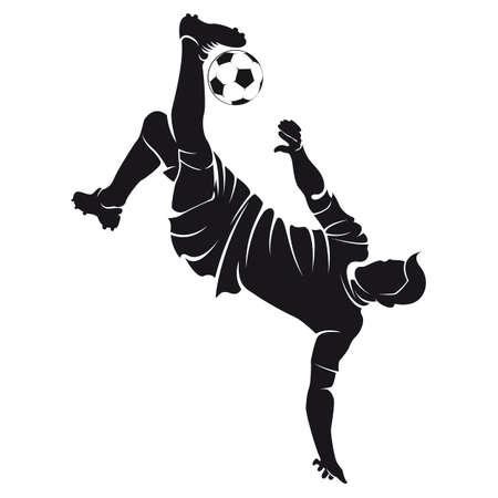 Vector voetbal speler silhouet met bal