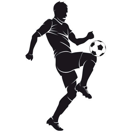 silueta masculina: Vector de fútbol de fútbol silueta jugador con balón aislado Vectores