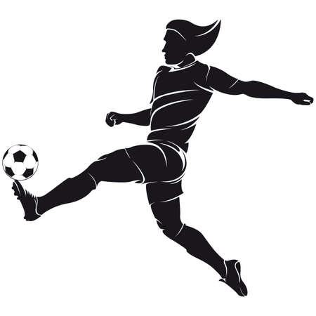 silhuette: Vector football  soccer  player silhouette with ball isolated Illustration
