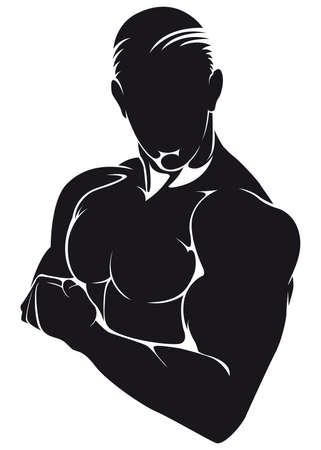 masculinity: Athlete, silhouette isolated on white
