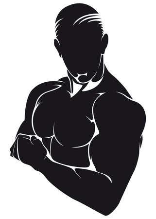 Atleet, silhouet geïsoleerd op wit