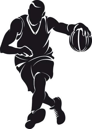 バスケット ボール選手、シルエット  イラスト・ベクター素材