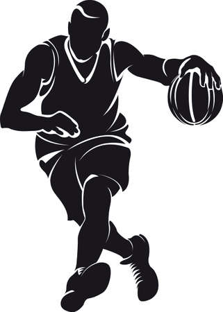 basketball shot: Basketball player, silhouette  Illustration