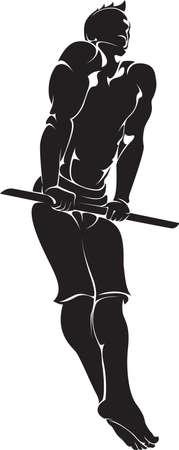 Sporty man doing street workout exercise. Vector illustration. Illustration