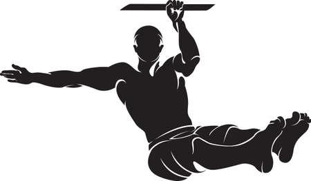 Sporty man doing street workout exercise. Vector illustration. 일러스트