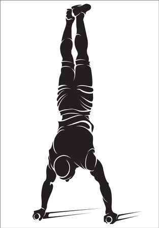 Sporty man doing street workout exercise. Handstand. Vector illustration.