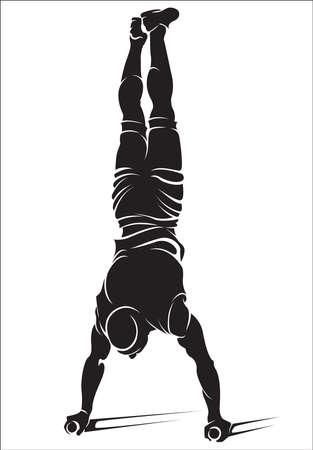 Sportieve man doet straat workout oefening. Handstand. Vector illustratie.