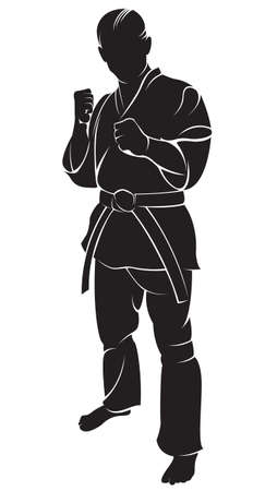 Karate fighter. Vector silhouette, isolated on white. Vettoriali