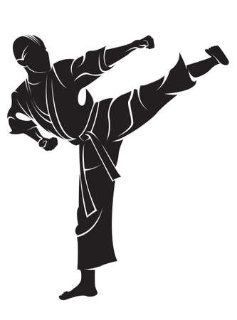 Karate fighter. Vector silhouette, isolated on white. Ilustração