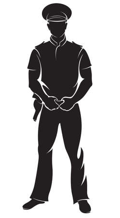 security uniform: Policeman. Vector silhouette, isolated on white. Illustration