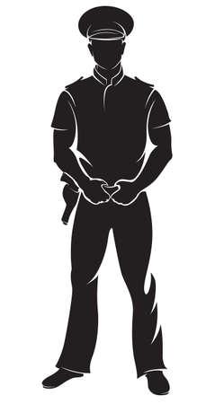 policier: Policier. Vector silhouette, isolé sur blanc.