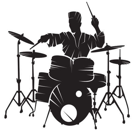 The musician playing drum setting. Vector silhouette.
