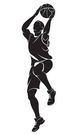 multiple image: Basketball player. Vector silhouette, isolated on white