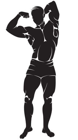naked male body: Vector image with bodybuilder, silhouette