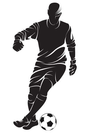 Football (soccer) player with ball, isolated. Vector silhouette Stock Illustratie