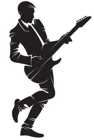 Musician playing guitar. Vector silhouette, isolated. 일러스트