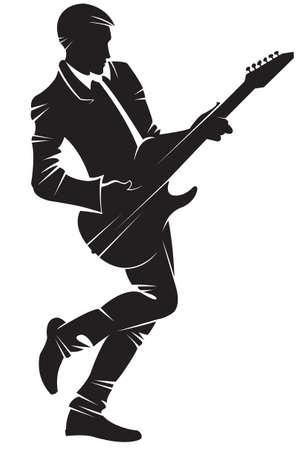 Muzikant gitaar spelen. Vector silhouet, geïsoleerd.
