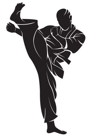judo: Combatiente del karate. Vector silueta, aislado en blanco