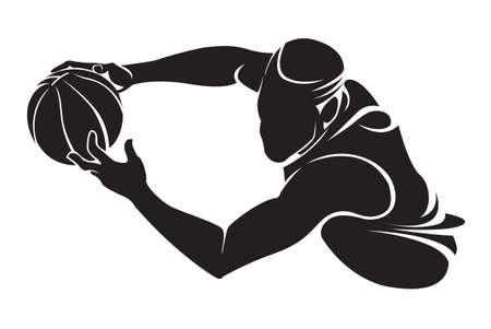 Basketbalspeler. Vector silhouet, geïsoleerd op wit Stock Illustratie