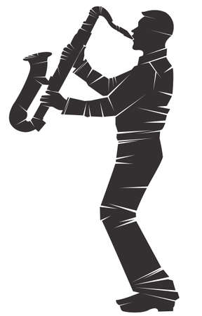 Saxophonist. Vector silhouette, isolated 일러스트