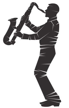 Saxofonist. Vector silhouet, geïsoleerd