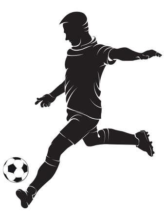 patada: F�tbol (f�tbol), jugador con el bal�n, aislados en blanco. Vector silueta