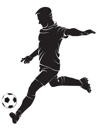 football kick: Football (soccer) player with ball, isolated on white. Vector silhouette