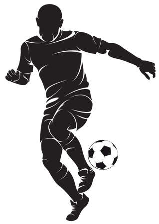 football silhouette: Football player with ball, isolated on white.