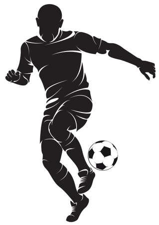 football players: Futbolista con la bola, aislado en blanco.