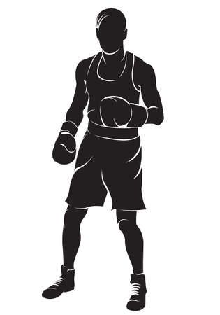 Boxer. Vector silhouette, isolated on white
