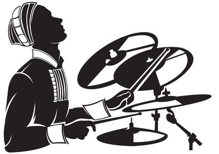 musician silhouette: The musician playing drum setting. Vector silhouette