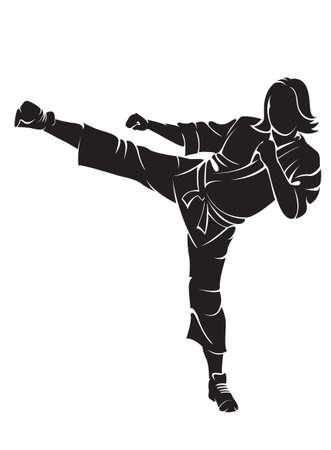 Vrouw karatevechter Stock Illustratie