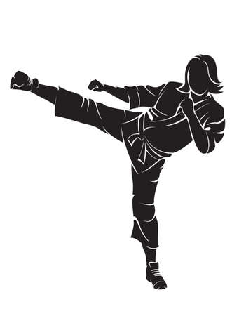 female kick: Woman karate fighter