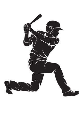 ballplayer: Ballplayer. Vector silhouette, isolated on white