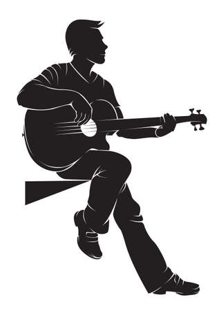 guitarist: Guitarist. Vector silhouette on white background