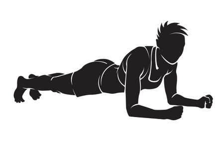 out of body: Sporty woman is working out. Vector silhouette